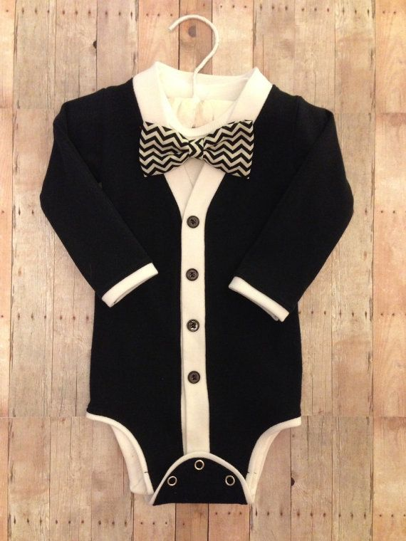 Twin Baby Tuxedo Cardigan One Piece: Black and by TheHumbleLemon