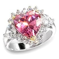Stunning 3 1/2 Ct. Pink Heart Engagement/Bridal/Cocktail Ring R/Plated Sz 8