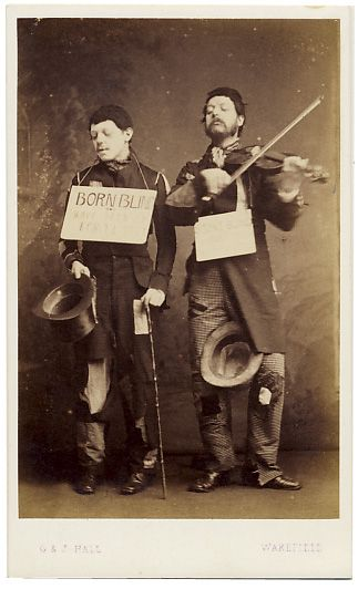 ca. 1860-80, [carte de visite portrait of two blind musicians with their instruments], G. & J. Hall  via Stereographica, Antique Photographica