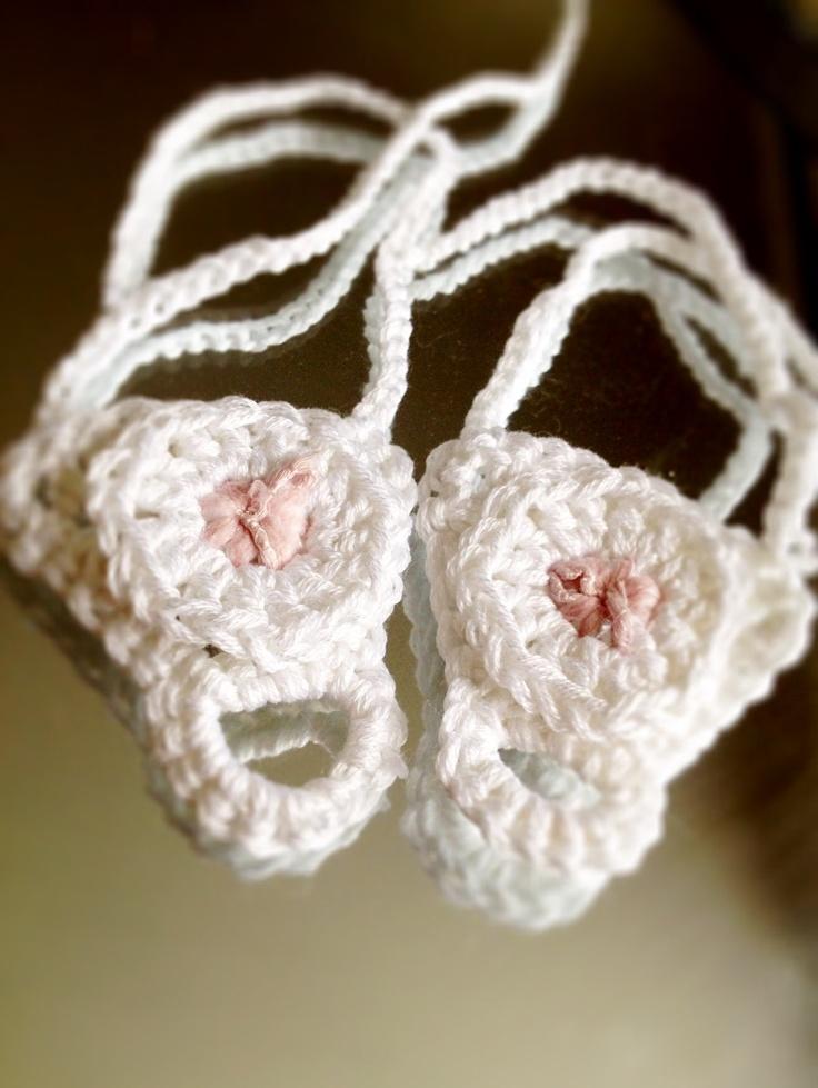 Crochet baby feet decor Shoe Sandal Bootie like White Pink ...