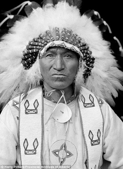 Also captured was Lone Walking Buffalo, Nakoda Nation, resplendent in feather plummage