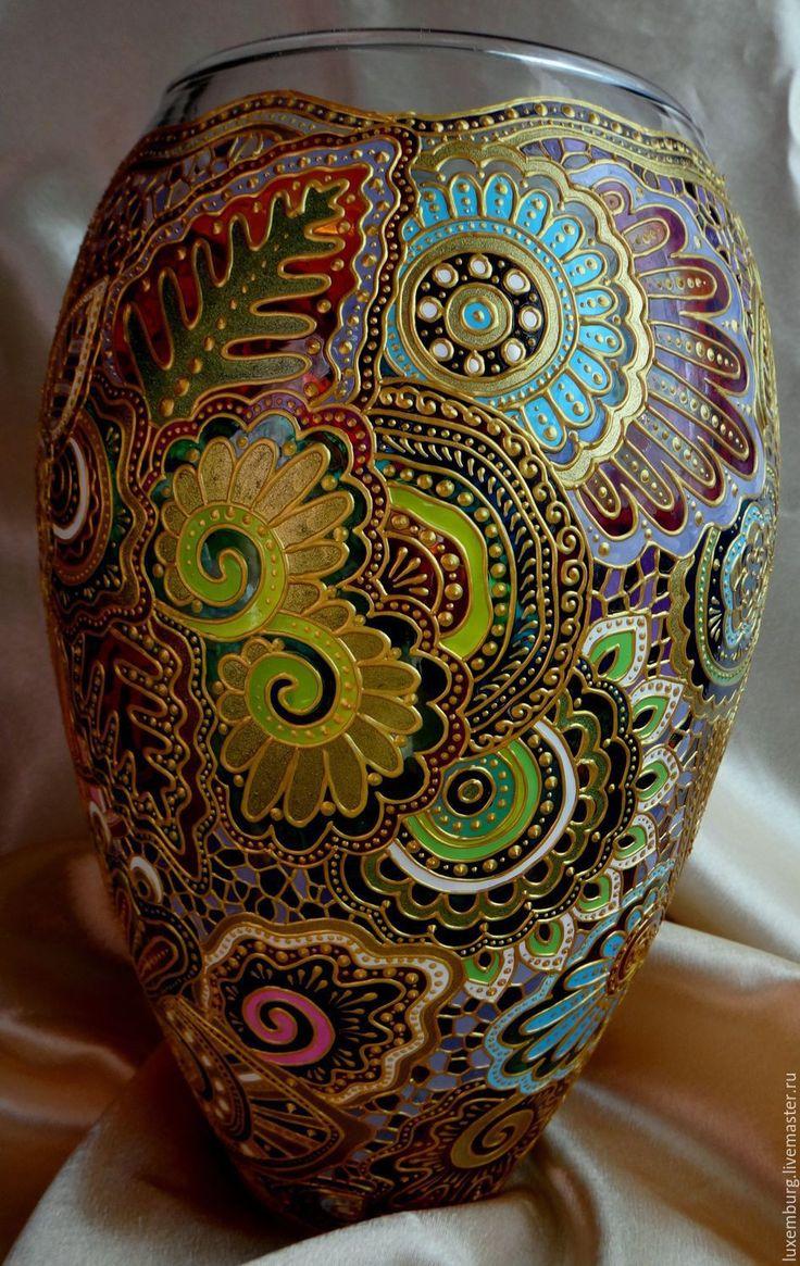 Купить Ваза стеклянная - разноцветный, мультиколор, Витражная роспись, ваза для цветов, декор для интерьера, подарок