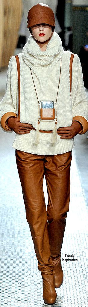 Hermès ~ Cognac Leather Trousers w Ivory Leather Trimmed Cowl Sweater 2011