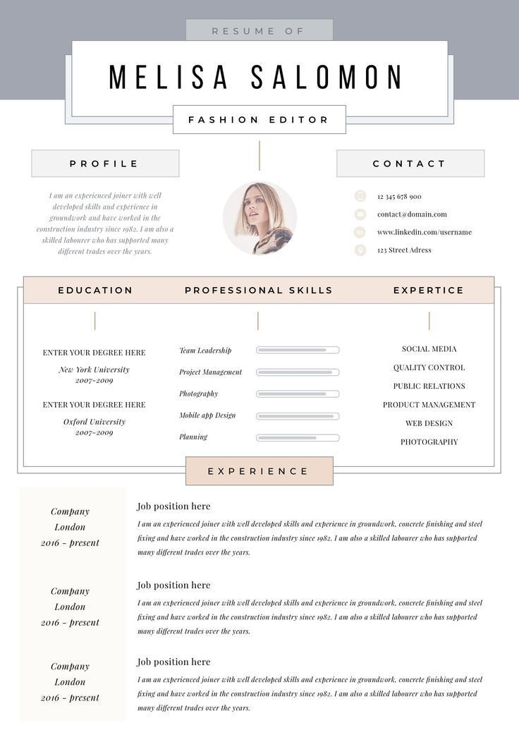 Creative Resume Template For Word Pages Creative Cv Template Etsy