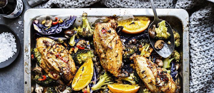 Oriental kanapelti on loistava one pot-ruoka. Yhdellä pellillä valmistuu kätevästi kerralla koko ateria. N. 4,05€/annos*.