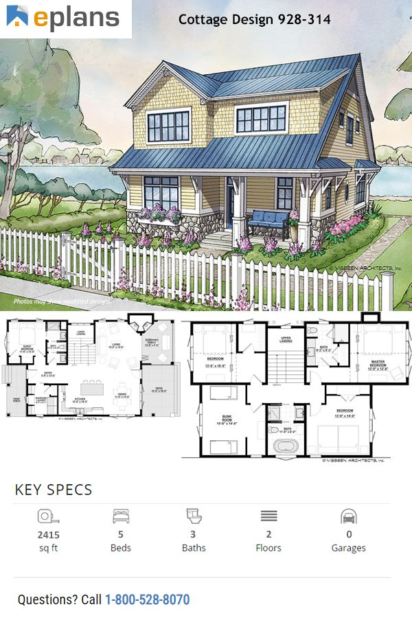 Cottage Style House Plan 5 Beds 3 Baths 2415 Sq Ft Plan 928 314