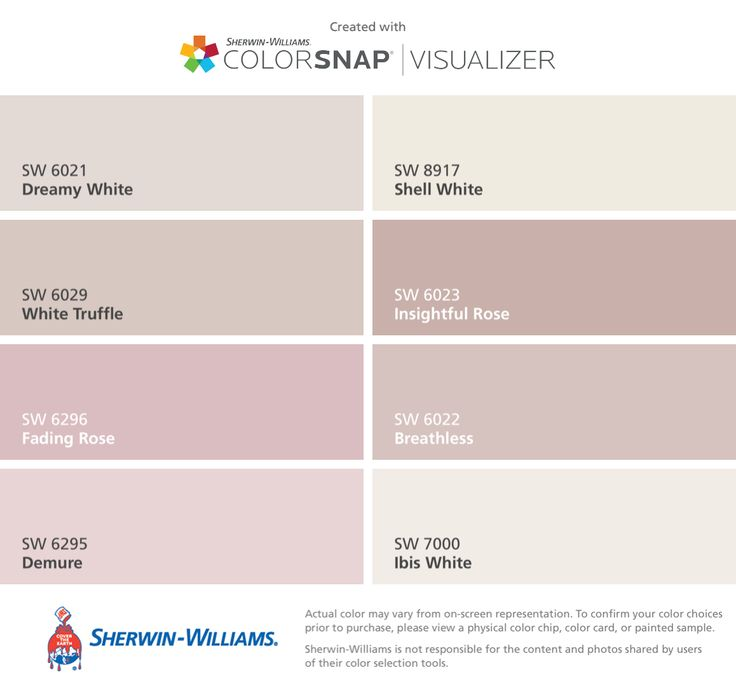 I found these colors with ColorSnap® Visualizer for iPhone by Sherwin-Williams: Dreamy White (SW 6021), White Truffle (SW 6029), Fading Rose (SW 6296), Demure (SW 6295), Shell White (SW 8917), Insightful Rose (SW 6023), Breathless (SW 6022), Ibis White (SW 7000).