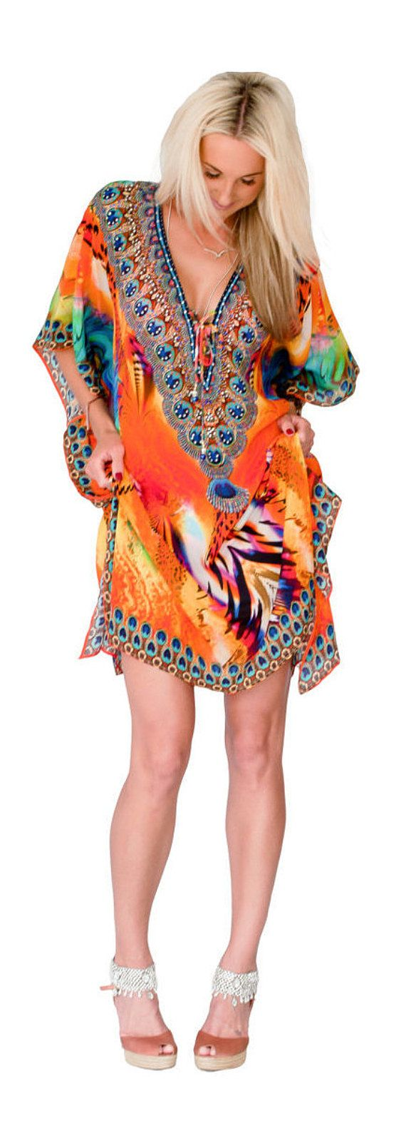 Kaftan dress, embellished Viscose Georgette multi coloured print relaxed fit gorgeous lace-up kaftan for beach or smart casual wear