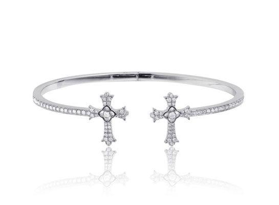 Elise Dray diamond twin cross bracelet - Metallic KbiMXBOdDr