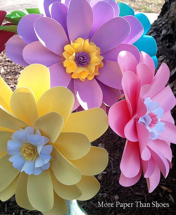 Papel flores - decoración para el hogar, cumpleaños adornos fiesta, Baby Shower, X-grande - Daisy - por encargo - juego de 12