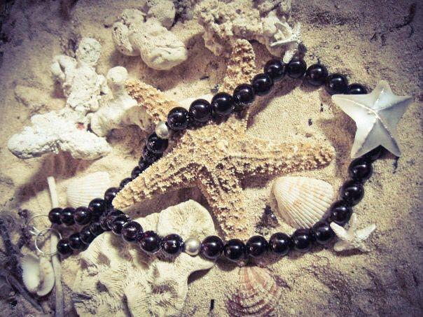 Collar estrellas de mar plata y granate #mar #joyeriacontemporanea