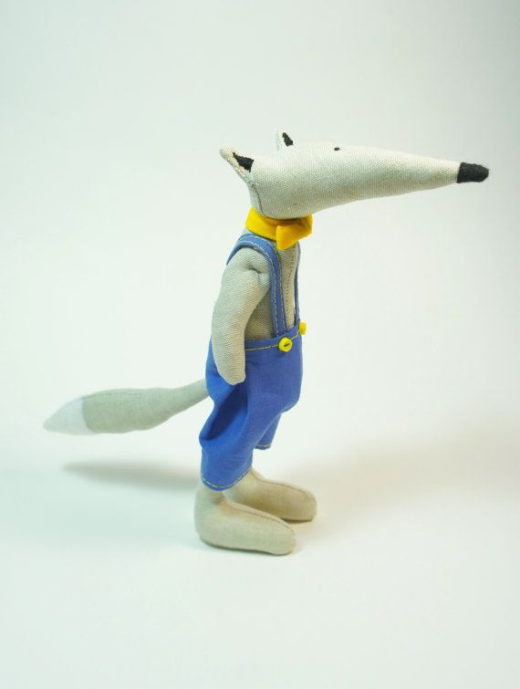Stuffed Linen Wolf in blue overall with yellow bow-tie