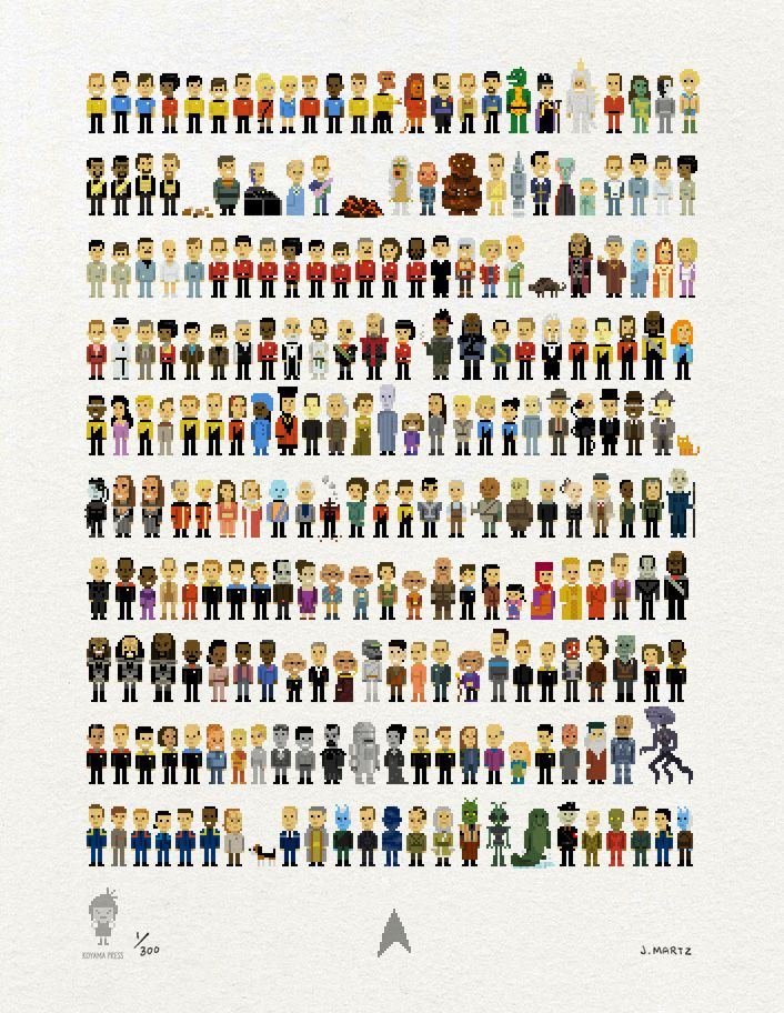 235 Star Trek Characters In Awesome Pixelations