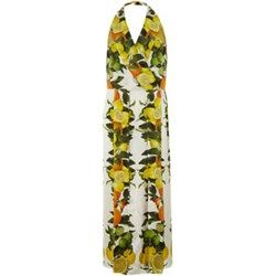 Citrus Fruit Silk Maxi Dress