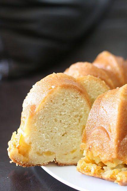 Peach Vanilla Bean Bundt Cake with Peach Soaking Syrup.