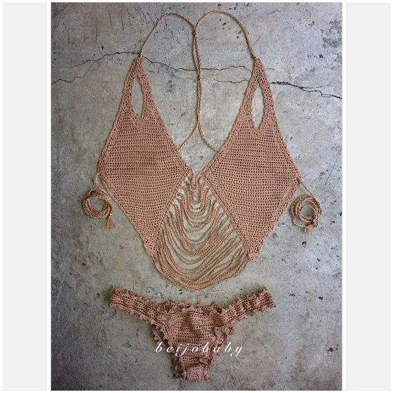 naked bikini custom crochet bikini por beijobaby en Etsy