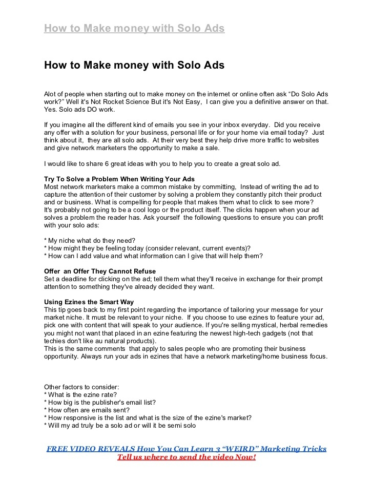 how-to-make-money-with-solo-ads by Pam Lindberg via Slideshare