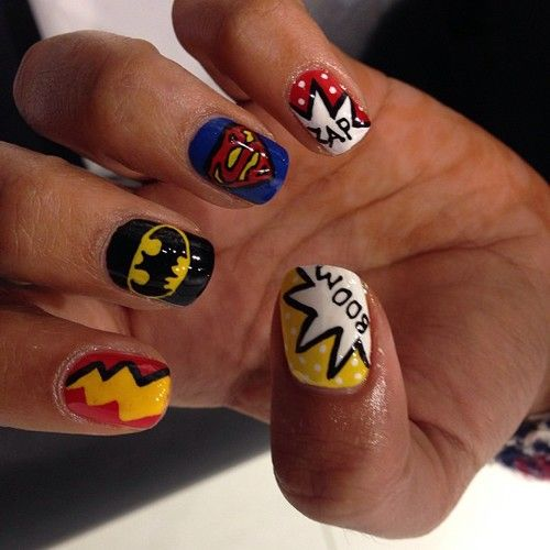 ishouldhavebeenborninengland:  .@WAH Nails | Super hero nails by Wah gurl Jess #nails #nailart | Webstagram - the best Instagram viewer on @We Heart It.com - http://whrt.it/1845mva