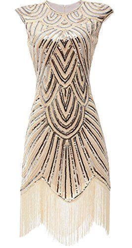 Fringe Midi Beaded Sequin Vintage Inspired Prom Dress - Sparkly Prom Dress