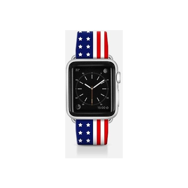 Apple Watch Band - USA Flag - Patriot collection ($70) ❤ liked on Polyvore featuring jewelry, watches, apple watch band, apple watches, american flag jewelry and apple watch