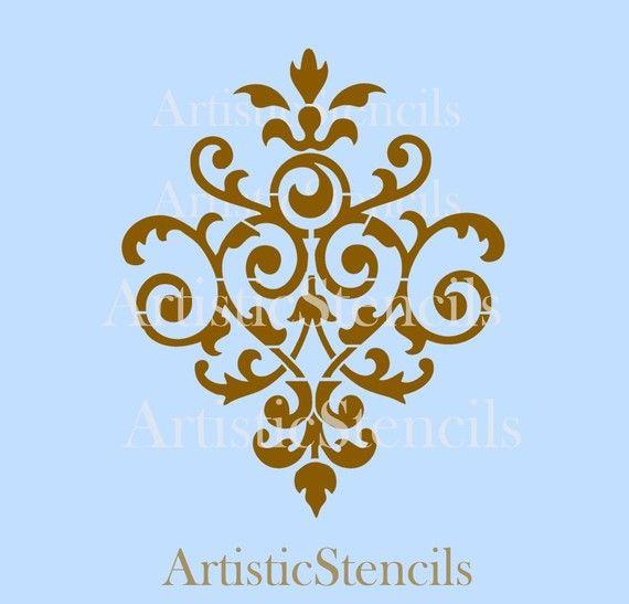 Idea for half bath stencil project.  STENCIL Vintage Damask Wallpaper Background No by ArtisticStencils,