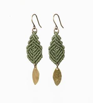 Mini Leaves Macrame Earrings