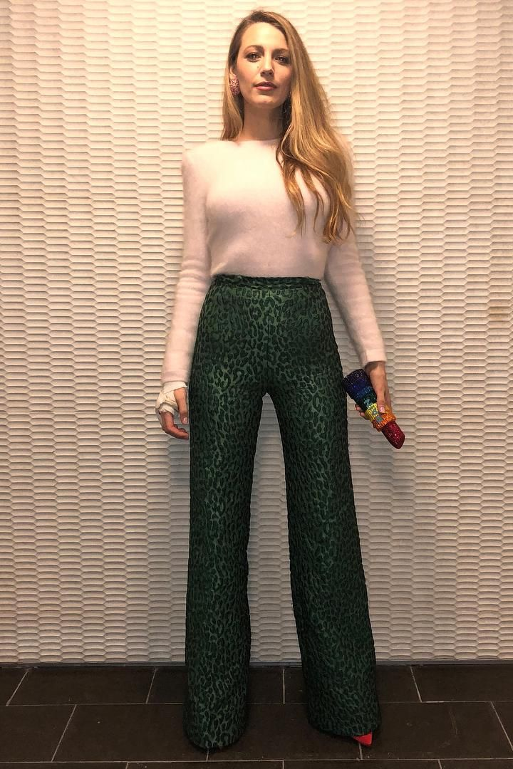 9048c6ed1cc5 Blake Lively wearing Brandon Maxwell Wide Leg Jacquard Pants, Brandon  Maxwell Mohair Sweater in Blush and Judith Lieber Seductress Lipstick Clutch