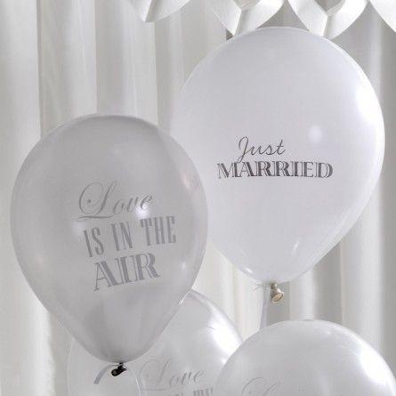 """Hochzeitsballons """"Love is in the air"""" (8 Stück) - silber * weiß"""