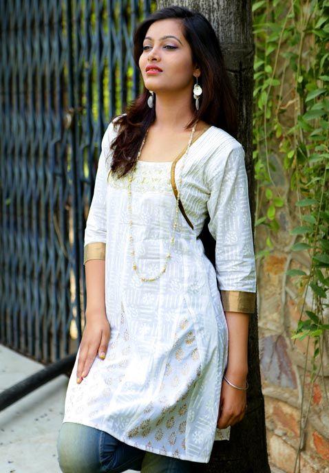 White pure cotton kurta