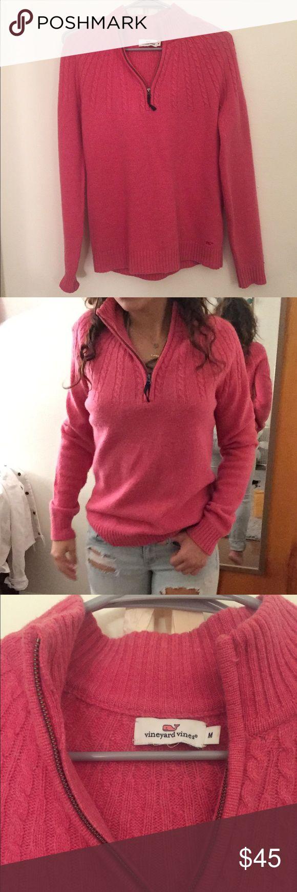 VINEYARD VINES CASHMERE SWEATER 3/4 zip pink colored sweater from Vineyard Vines. Thin, cashmere material. Very warm & super cute. Vineyard Vines Sweaters