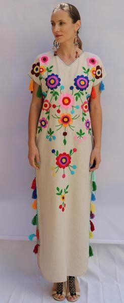 Fanm Mon Cream Linen Mult Color Floral Handmade Embroidered Folk Maxi Tassels Dress. Sizes - XS-XXL 002