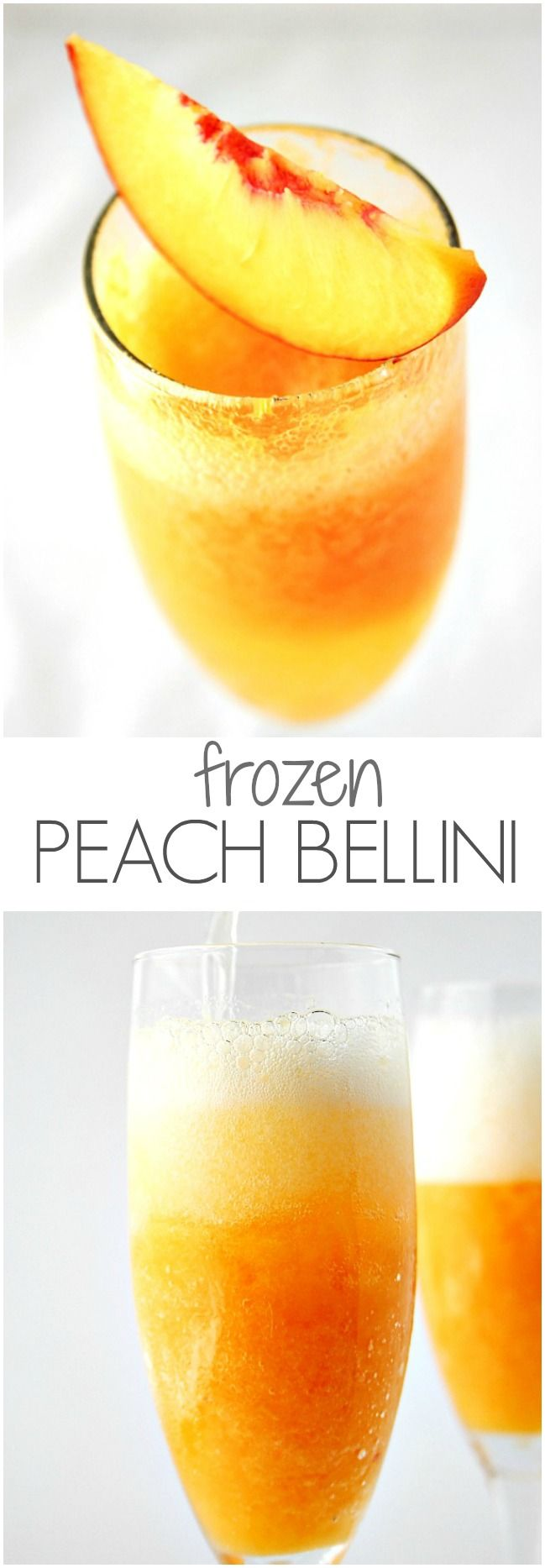 Frozen Peach Bellini - jazz up sparkling wine or champagne with frozen peach puree! @crunchycreamysw