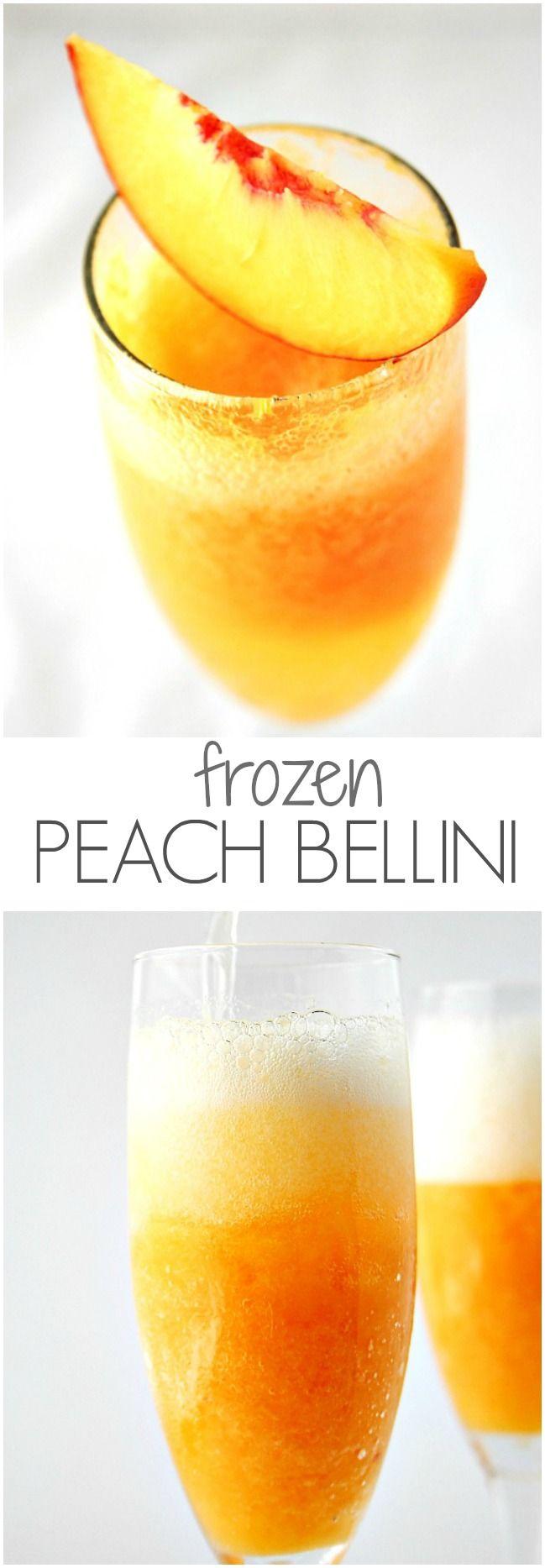 Frozen Peach Bellini - jazz up sparkling wine or champagne with frozen peach puree! @crunchycreamysw