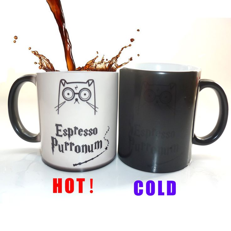 ESPRESSO Purronum harry potter mugs cute cat coffee mugs heat changing color cold hot sensitive transforming printed Tea Cup