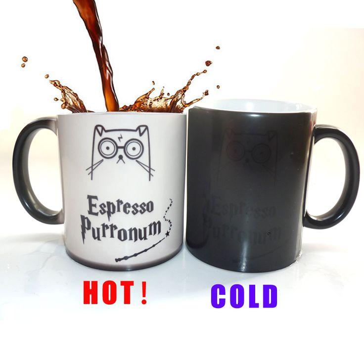 ESPRESSO Purronum harry potter mugs cute cat coffee mugs heat changing color cold hot sensitive transforming printed Tea Cup