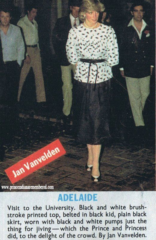 April 5, 1983: Princess Diana at a Disco Dance at the University of Adelaide during the Royal Tour of Australia.