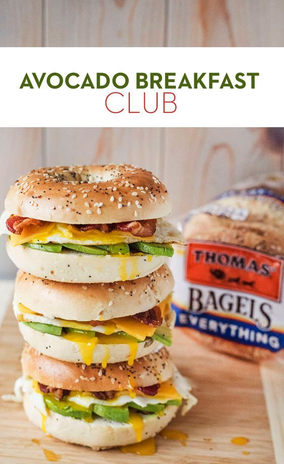 Avocado Breakfast Club: Elevate your breakfast sandwich with the creamy deliciousness of avocado. Top a Thomas' Everything Bagel with a fried egg, Cheddar cheese, crispy bacon and avocado slices. Rise and shine indeed!