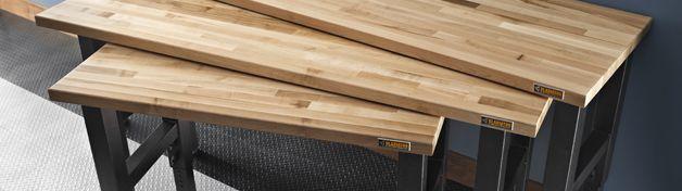 Adjustable Height 8 ft. Hardwood Workbench | Gladiator® by Whirlpool Corp
