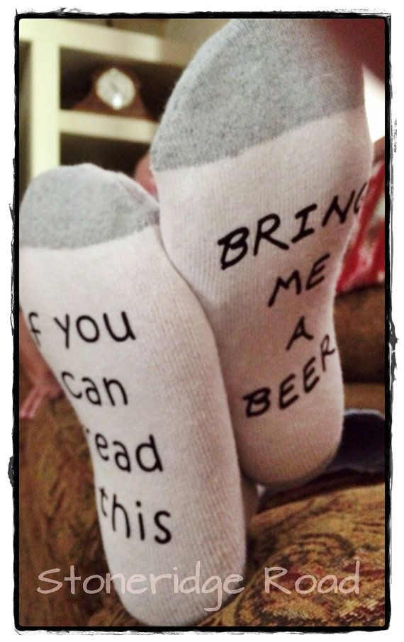 $6.50. Socks, Men's or women's funny - If you can read this....bring me a beer, or bring me wine, or bring me chocolate Fathers Day Mothers Day