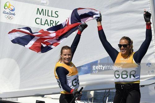 Britain's Hannah Mills and Saskia Clark celebrate after... #santamarinasalina: Britain's Hannah Mills and Saskia Clark… #santamarinasalina