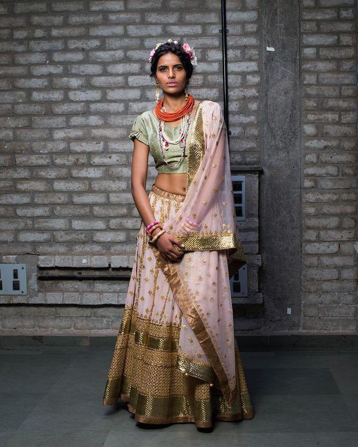 Beautiful Nidhi Tholia Pink #Lehenga & Green Blouse.
