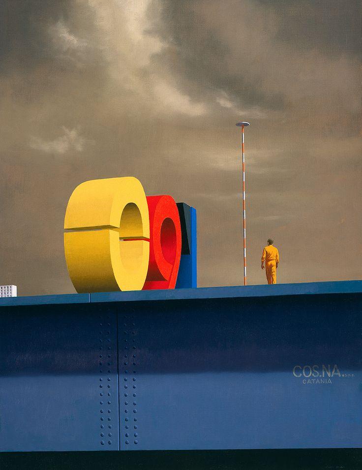 'Near Pisa Airport' (1990) by Australian artist Jeffrey Smart (1921-2013). 71.3 x 93 cm. via Culture Clips