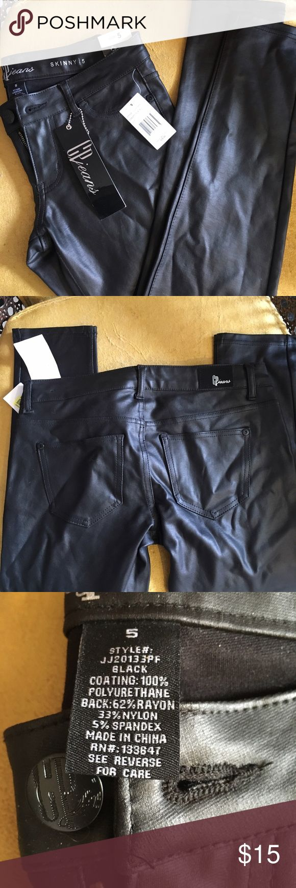 Black Faux Leather Skinny Jeans Black Faux Leather Low Rise Skinny Jeans, Size 5 (I'm 26/27 and these are tight on me) New With Tags, Wrinkled From Being In My Closet. Ask for measurements.  *Comes from a pet friendly home* Celebrity Pink Pants Skinny