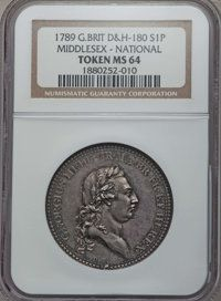 Great Britain: Middlesex silver Penny Token 1789 MS64 NGC