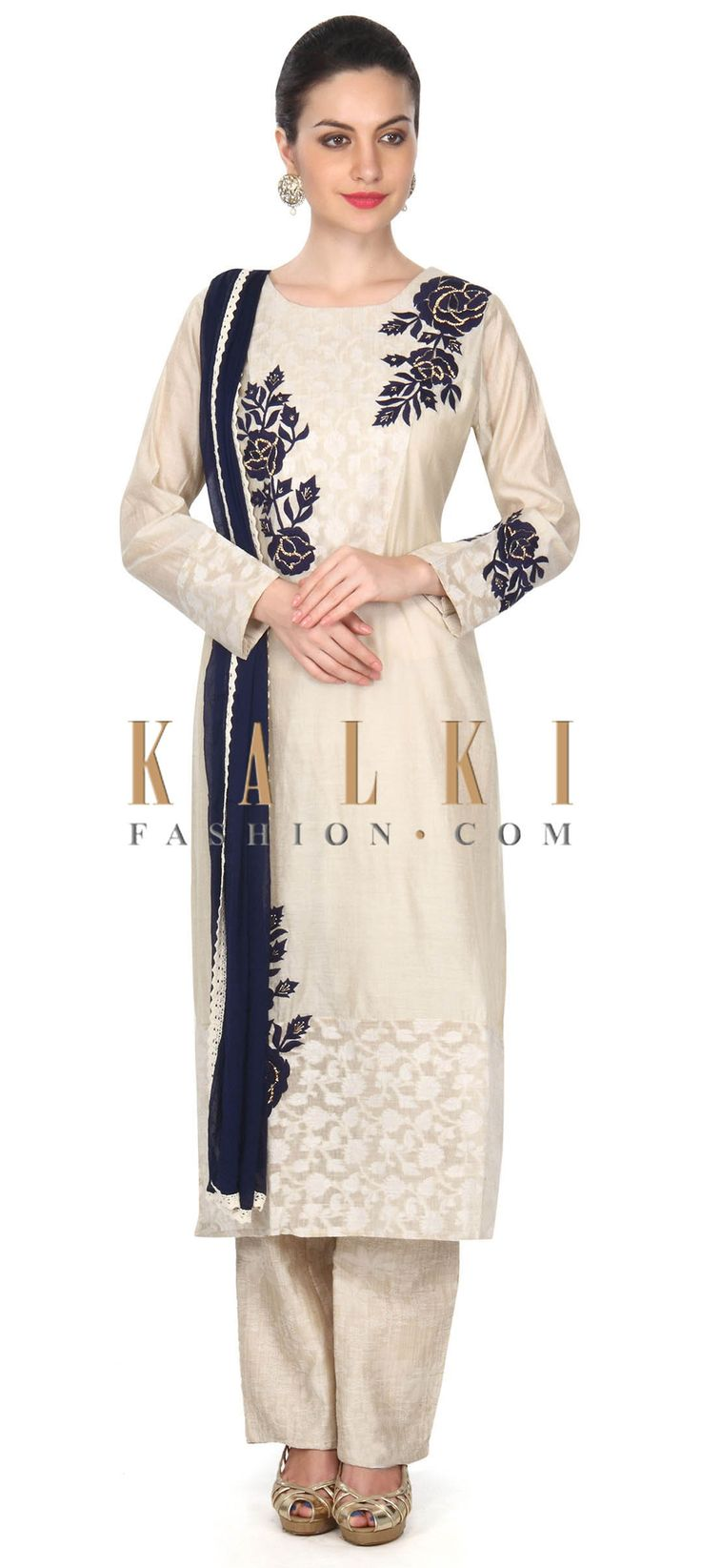 Buy this Beige straight suit in blue thread embroidery only on Kalk