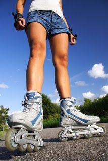 Learn Inline skating tricks.  Just don't skate forwards, learn to skate backwards, do spins, crazy legs and slalom.