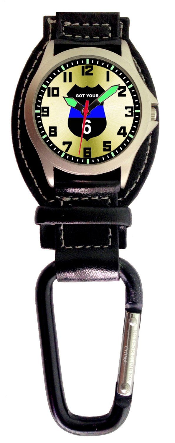 """Aqua Force Analog Police Shield """"Got Your 6"""" Carabiner Watch w/ Optional Strap (30M water resistant)"""