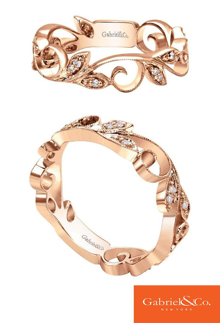 This Stunning 14k Pink Gold Diamond Stackable Ring By