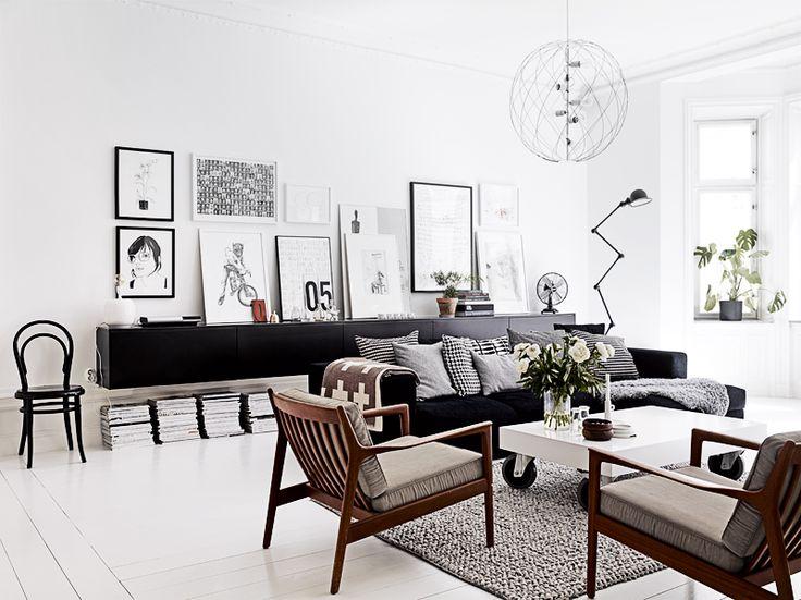 mid century modern, danish easy chairs, black, white, wood, interior, living room