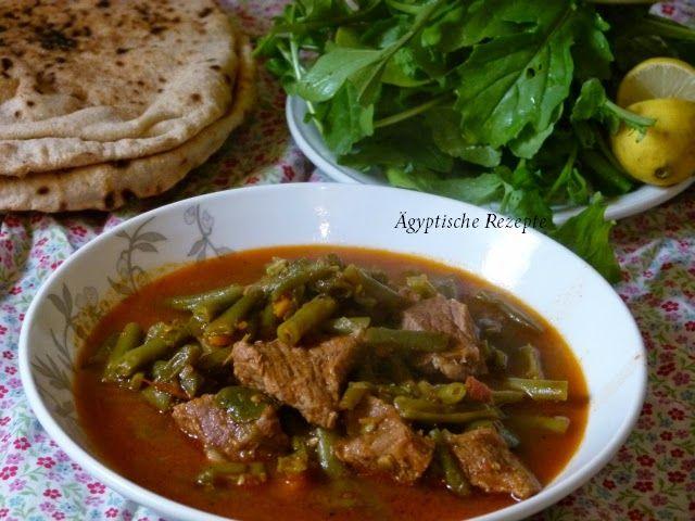 Ägyptisches Rezept für grüne Bohnen mit Fleisch in Tomatensoße- Kann auch vegetarisch und vegan zubereitet werden